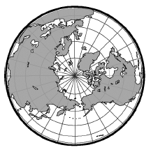Circle, with top view of world globe within the circle, circle is bolded and located on globe where equator would be. 4 additional circles, with the North Pole as the center, increasing in size. Line segments radiate, from the center, equally spaced, to the circle.