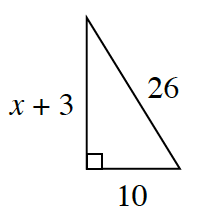 A right triangle with a base of 10, height of x + 3, and hypotenuse of 26.