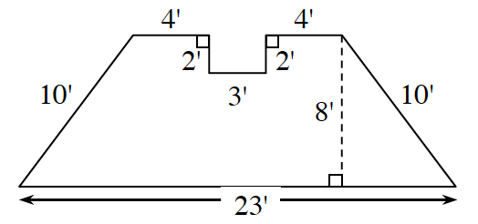 A trapezoid has a bottom base, 23 feet. The two sides are each 10 feet. The top base spans 11 feet, but 4 feet from both ends is an indention of 3 feet long by 2 feet wide rectangle removed from the top of the trapezoid.  A right triangle is created by a line segment of 8 feet drawn from the upper right vertex perpendicular to the base.