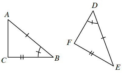 2 triangles, A,B,C, & D,E,F, in different orientations, labeled as follows; side A,B, 1 tick mark, angle B, 1 tick mark, side, B,C, 2 tick marks, side D,E, 1 tick mark, side, E,F, 2 tick marks, angle D, 1 tick mark.