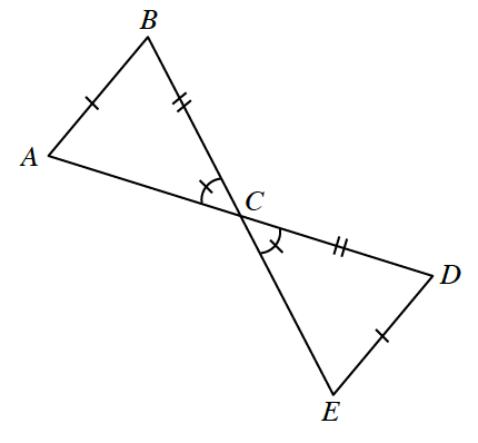 Segments A,D, & B,E, intersect at C, with segments from A, to B, & from D, to E, creating 2 triangles with a common vertex, labeled as follows: Side, A,B, 1 tick mark, side, B,C, 2 tick marks, angle B,C,A, 1 tick mark, angle D,C,E, 1 tick mark, side, C,D, 2 tick marks, side D,E, 1 tick mark.