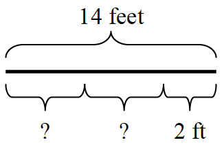 A 14-foot line divided into three sections. Two of the sections are the same length, and the third section is 2 feet long.