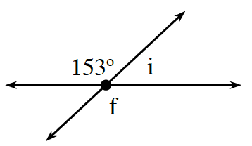 Two lines intersect at a point, creating 4 angles, about the point of intersection, labeled as follows: top,153 degrees, right, I, bottom, f.