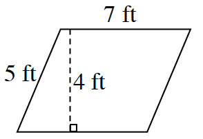 A horizontal, slanted right, parallelogram, labeled as follows: Left side: 5 feet. Top side: 7 feet.  A dashed line, from top to bottom, perpendicular to both sides, labeled, 4 feet.
