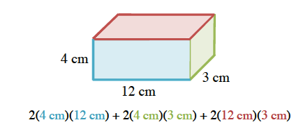 The same box, with front shaded blue, top shaded red, and right side shaded green. Expression: 2 times, 4 cm, shaded blue, times, 12 cm, shaded blue, + 2 times, 4 cm, shaded green, times, 3 cm, shaded green, + 2 times, 12 cm, shaded red, times, 3 cm, shaded red.
