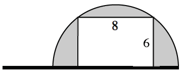 Semi-circle on top of a horizontal flagpole. The diameter is resting on the pole.  Inscribed within the semicircle is an 8 by 6 rectangle. The 6 side is perpendicular with the pole.  The 8 side is parallel to the pole.