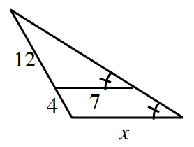 Large triangle has a segment that appears to be parallel to the base creating a smaller triangle inside. The segment has length, 7, and the base of the large triangle is, x. The left side of the large triangle has 2 sections with lengths 12 on top and 4 on bottom. The right base angle, of each triangle, is marked to show they are congruent.