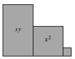 A vertical,  x y tile, with 1 x squared tile, connected at the bottom right, and 1 unit tile, connected at the bottom right, of the x squared tile. All tiles are aligned on the bottom.