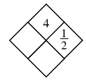 Diamond with 4 in top and 1/2 in right diamond.