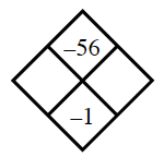 Diamond Problem. Left blank, Right blank, Top negative 56,  Bottom negative 1
