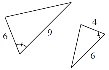 Two triangles.  The first triangle has two adjacent sides, 6, and, 9, with an angle between with 1 tick mark. The second triangle has two adjacent sides 6, and, 4, with an angle between with 1 tick mark.
