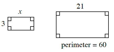 2 rectangles, labeled as follows: Smaller: width, 3, length, x. Larger: length, 21, perimeter = 60.