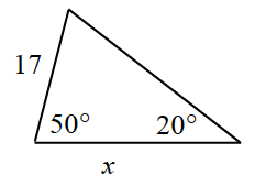 Triangle labeled as follows: bottom left angle, 50 degrees, bottom right angle, 20 degrees, bottom side, x, left side, 17.