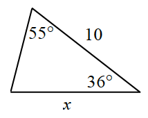 Triangle labeled as follows: top angle, 55 degrees, bottom right angle, 36 degrees, bottom side, x, right side, 10.