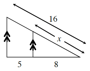 A triangle has an internal line segment parallel to the left side and stretching between the other two sides.  The two triangles share a common vertex. The diagonal side of the original triangle is 16, but, x, for the internal triangle. The base of the original triangle is 13, but, 8, for the internal triangle.