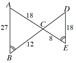 Triangle, A, B, C, is attached to triangle, D, E, C, at vertex point, c. Side, A C, is 18, side, A B, is 27, side, B C, is 12, Side, C E, is 8, and side, D E, is 18. Angle, B, and angle, E, are marked with two angle arcs.
