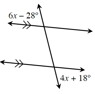 A vertical transversal cuts through 2 parallel lines. At the intersection of the top parallel line and the transversal, the angle, exterior, left is 6 x, minus 28 degrees.  At the intersection of the bottom parallel line and the transversal, the angle, exterior, right is 4 x, plus 18 degrees.