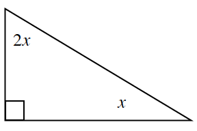 A right triangle with angles 90 degrees, 2, x , and x.