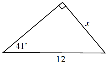 Right triangle labeled as follows: short leg, c, hypotenuse, 12, angle opposite short leg, 41 degrees.