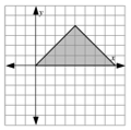 Shaded triangle on coordinate grid, vertices at the following points, the origin, (4, comma 4), & (8, comma 0).