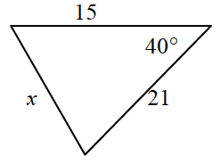 Triangle, labeled as follows: right side, x, left side, 21, top side, 15, top right angle, 40 degrees.