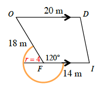 Mutt is at point F, but outside the building. He has the area of a circle, radius of 4 meters,  minus the 120 degree sector within the building.