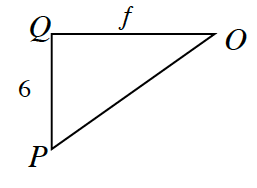 Triangle O, P, Q,  where side Q, O, is, f, and side P, Q, is, 6.