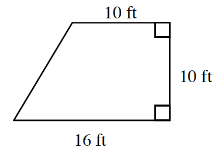 A trapezoid whose right side is perpendicular to the parallel sides, labeled as follows: top, 10 ft, right side, 10 feet, bottom, 16 ft.