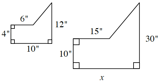 First pentagonal shape, draw, left, 6, down, 4, right 10, up, 12, and diagonal downward to the start to enclose the figure. The second pentagonal shape,  draw, left, 156, down, 10, right, x, up, 30, and diagonal downward to the start to enclose the figure.