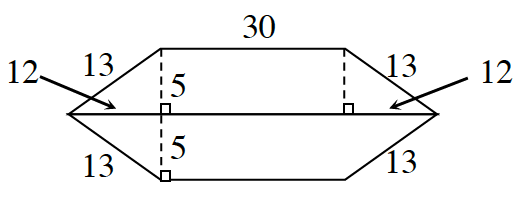 A 6 sided polygon, divided by a horizontal line, from the left to the right vertex, sides labeled, starting at the top, horizontal side: 30, 13, 13, unknown, 13 13. Dashed line segment, labeled 5, from the top left vertex, perpendicular to the center line, creates triangle, with horizontal side labeled, 12. The same triangle is formed on the the right top side, and on the left bottom side.