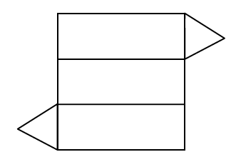 Three horizontal rectangles in a column. One equilateral triangle is attached to the rectangle on the upper right. One equilateral triangle is attached to the rectangle on the bottom left.