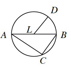 Circle, with center, L, radius, L, D, diameter, A, B, chord, A, c, and chord, B, c.