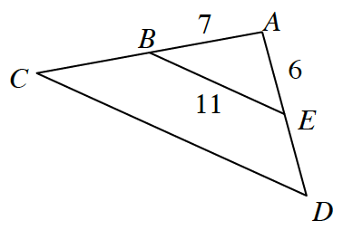 Triangle A, D, C where B, E cuts A, C in half and A, D in half. B, A, is 7. A, E, is 6. B, E, is 11.
