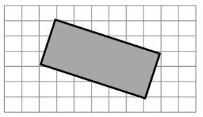 An enclosed figure: Starting at the upper left corner: diagonally down 2 and right 6, then diagonally down 3 and left 1, then diagonally up 2 and left 6, then diagonally up 3 and right 1 to enclose the figure.