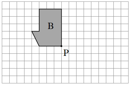 Start a point P. Draw up, 5, left 3, down 3, left 1, Diagonally down 2 & right 1, Then right 3 to enclose the figure at, P.   Rotate Figure B 90 degrees clockwise about point P.