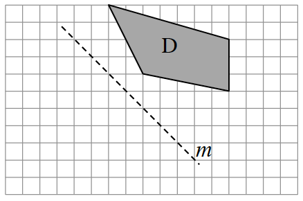 A diagonal line, m, with a slope of negative 1, is the line of reflection. The figure D starts 4 units above a point on, m.  From the start, draw diagonally right, 7, and down, 2. Then draw down, 3. Then draw diagonally up 1 and left 5. Then diagonally up 4, and left 2 to enclose figure D.