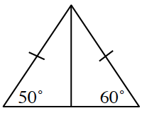Triangle, with line segment from upper vertex, to the center of the bottom side, labeled as follows:  bottom left angle, 50 degrees, bottom right angle, 60 degrees, left side and right side, each have one tick mark.