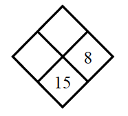 Diamond Problem. Left blank, Right 8, Top blank,  Bottom 15