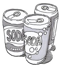 three soda cans