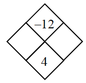 Diamond Problem. Left blank, Right blank, Top negative 12,  Bottom 4