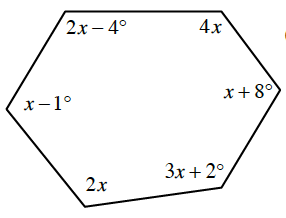 A hexagon with the following angles going clockwise: 2, x minus 4 degrees, 4, x degrees, x + 8 degrees, 3, x plus 2 degrees, 2, x degrees, x minus 1 degree.