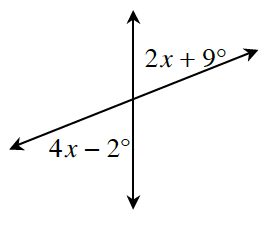 Two intersecting lines with vertical angles, 4, x, minus 2 degrees and 2, x, plus 9 degrees.