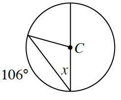 Circle with center, C, with a diameter, a radius, and a chord, connecting the ends of the radius and one end of the diameter. The inscribed angle, between the diameter and chord, is labeled, x, and the arc, contained between the ends of the chord, is labeled, 106 degrees.