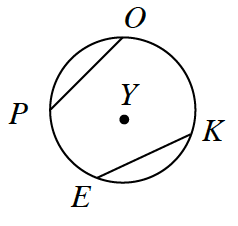 Circle, with center, Y, with points, in order, O, K, E, P, line segments from, O, to, P, and from, E, to, k.