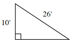 A right triangle with a leg of 10 feet and a hypotenuse of 26 feet.