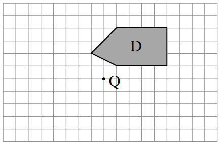The point of reflection is, Q. Figure D starts left, 1, and up 2 from Q. Then draw diagonally up 2 and right 2. Then right, 4. Down, 3. Left, 4. Finally, diagonally up 1 and left 2 to enclose Figure D.