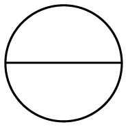 A circle with a horizontal line segment, from left to right edges, through the center.