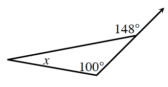 A triangle has two base angles of, x, and 100 degrees. The side opposite the, x, angle is extended upward creating an external angle of 148 degrees.