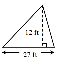 A triangle with a base of 27 feet.  Two internal triangles are created by a line segment, of 12 feet, drawn from the upper vertex, to the base, at right angles .