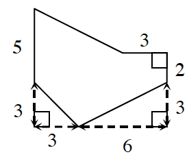 An enclosed figure. Draw down 5  and then diagonally down 3 and to the right 3. Then draw diagonally up 3 and to the right 6. Then draw up 2 and to the left 3. Finally, draw diagonally up and to the left until the figure is enclosed.